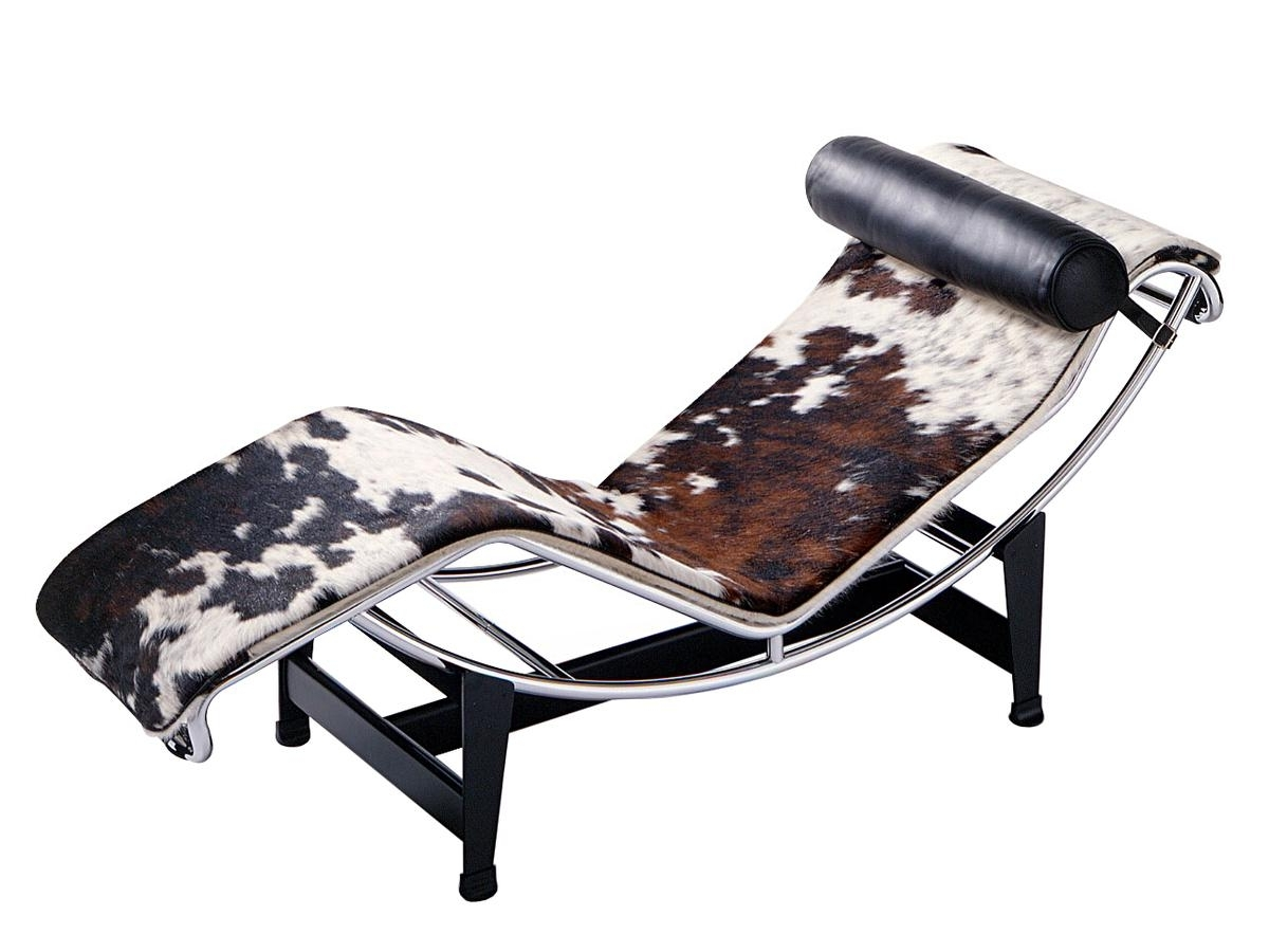 Popular Brown Chaise Lounge Chair By Le Corbusier Pertaining To Cassina Lc4 Chaise Longue, Chrome Plated, Spotted Hide Black White (View 7 of 15)