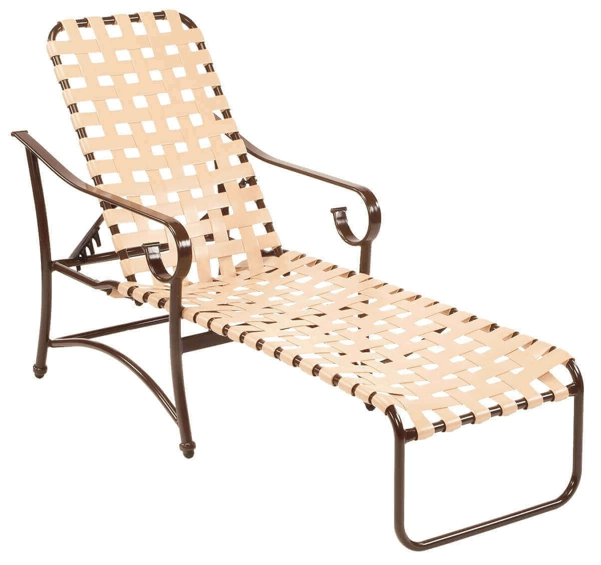 Popular Chaise Lounge Strap Chairs Pertaining To Barbados Cross Weave Vinyl Strap Chaise Lounge – Commercial (View 10 of 15)
