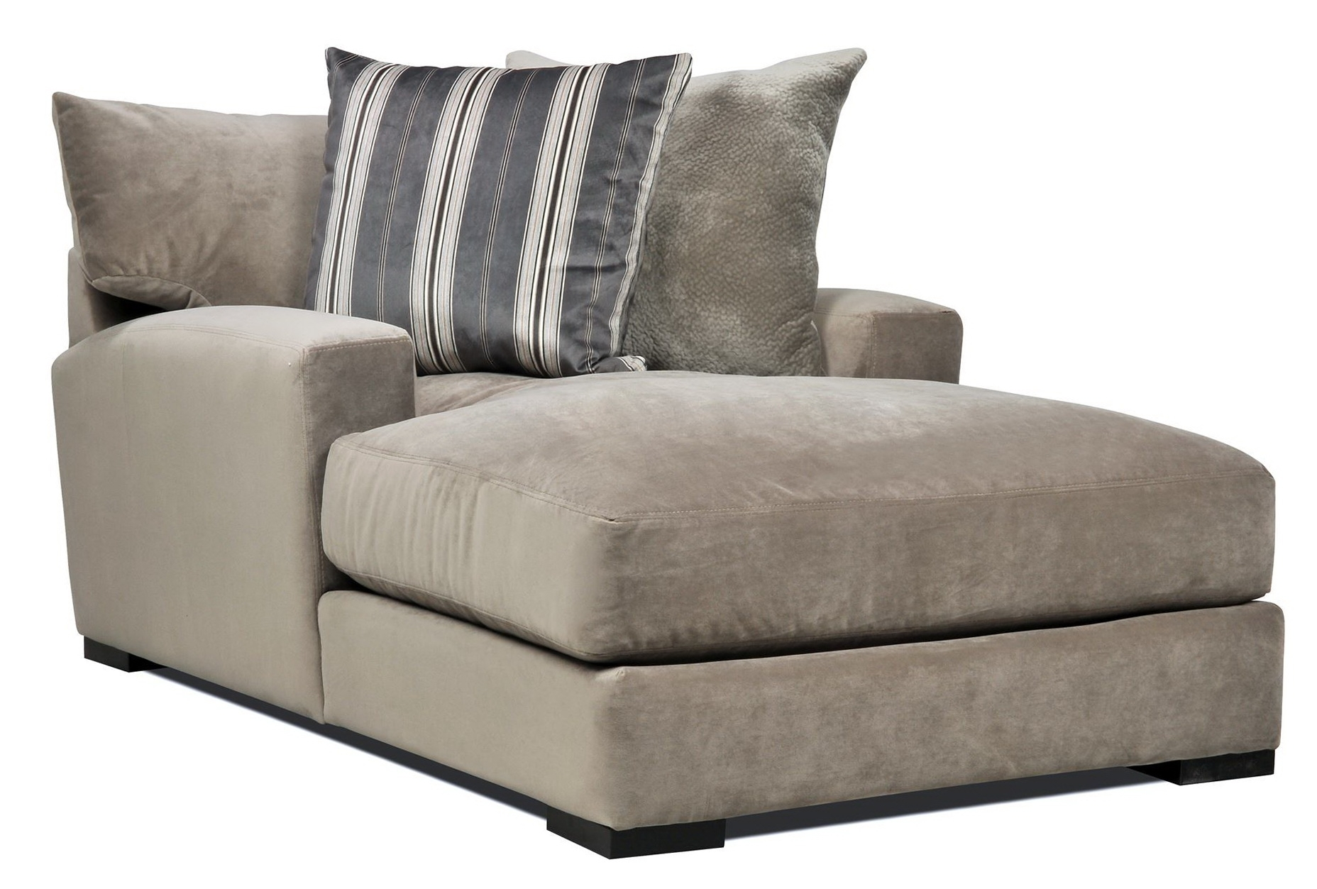 Popular Chaise Lounges With Arms Intended For Double Wide Chaise Lounge Indoor With 2 Cushions (View 8 of 15)