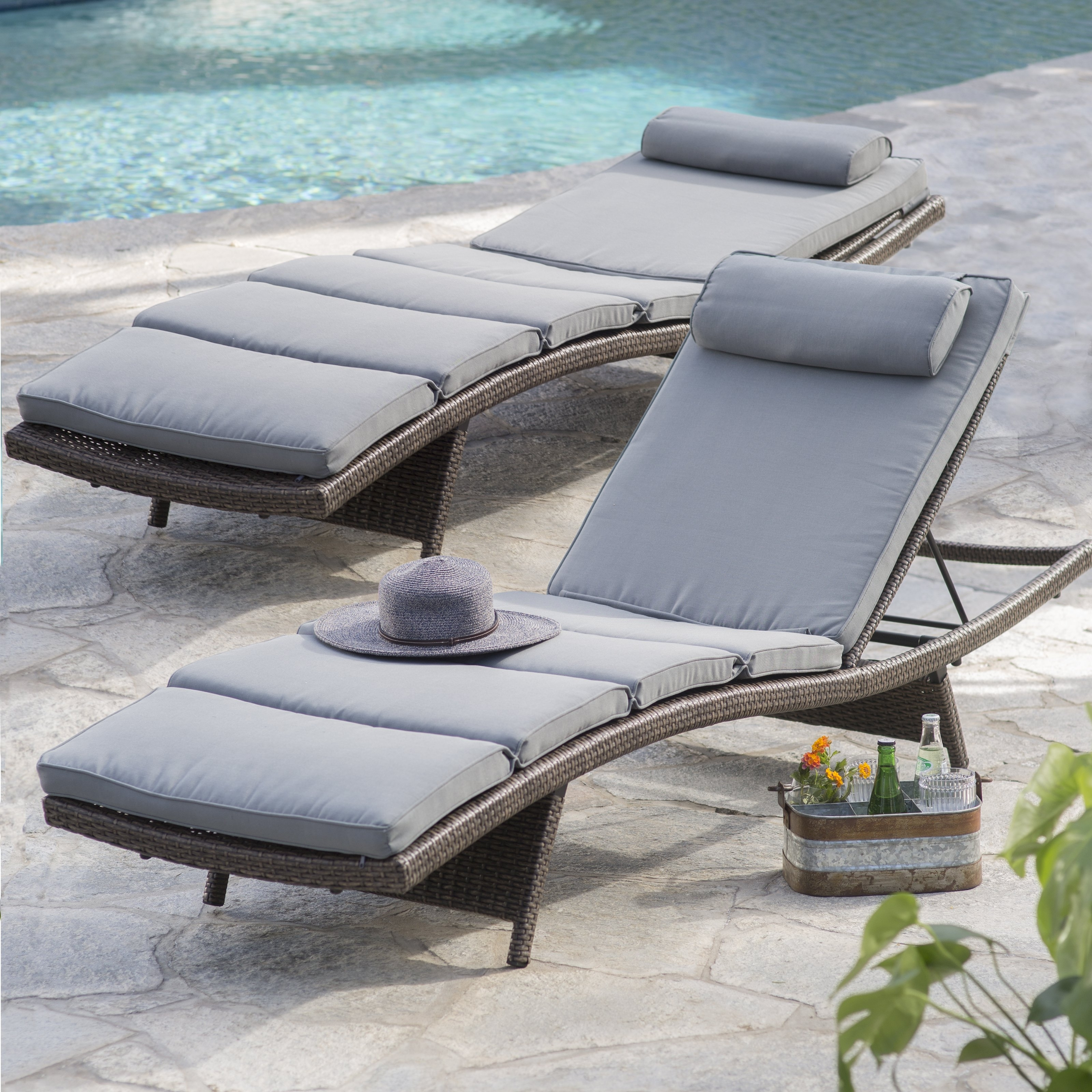 Popular Coral Coast Bellora Acacia Chaise Lounger With Pullout Table In Patio Chaise Lounges (View 10 of 15)