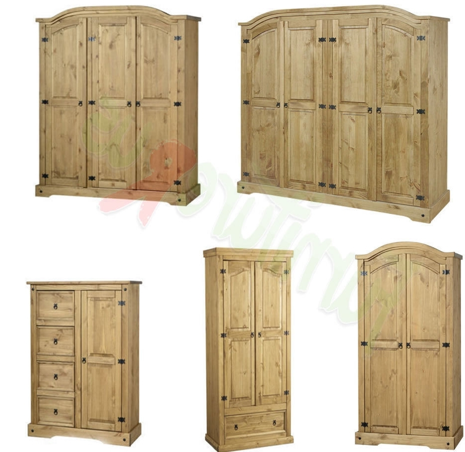 Popular Corona Mexican Solid Pine Wardrobe, 4 Doors, 3 Doors, 2 Doors Free With Corona Wardrobes With 3 Doors (View 12 of 15)