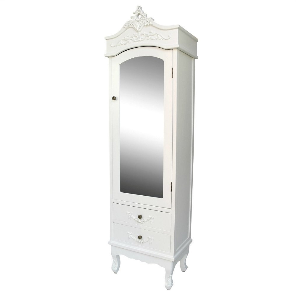 Popular Cream French Wardrobes Regarding French Cream Chateau Single Armoire With Full Mirror Door Shabby (View 10 of 15)