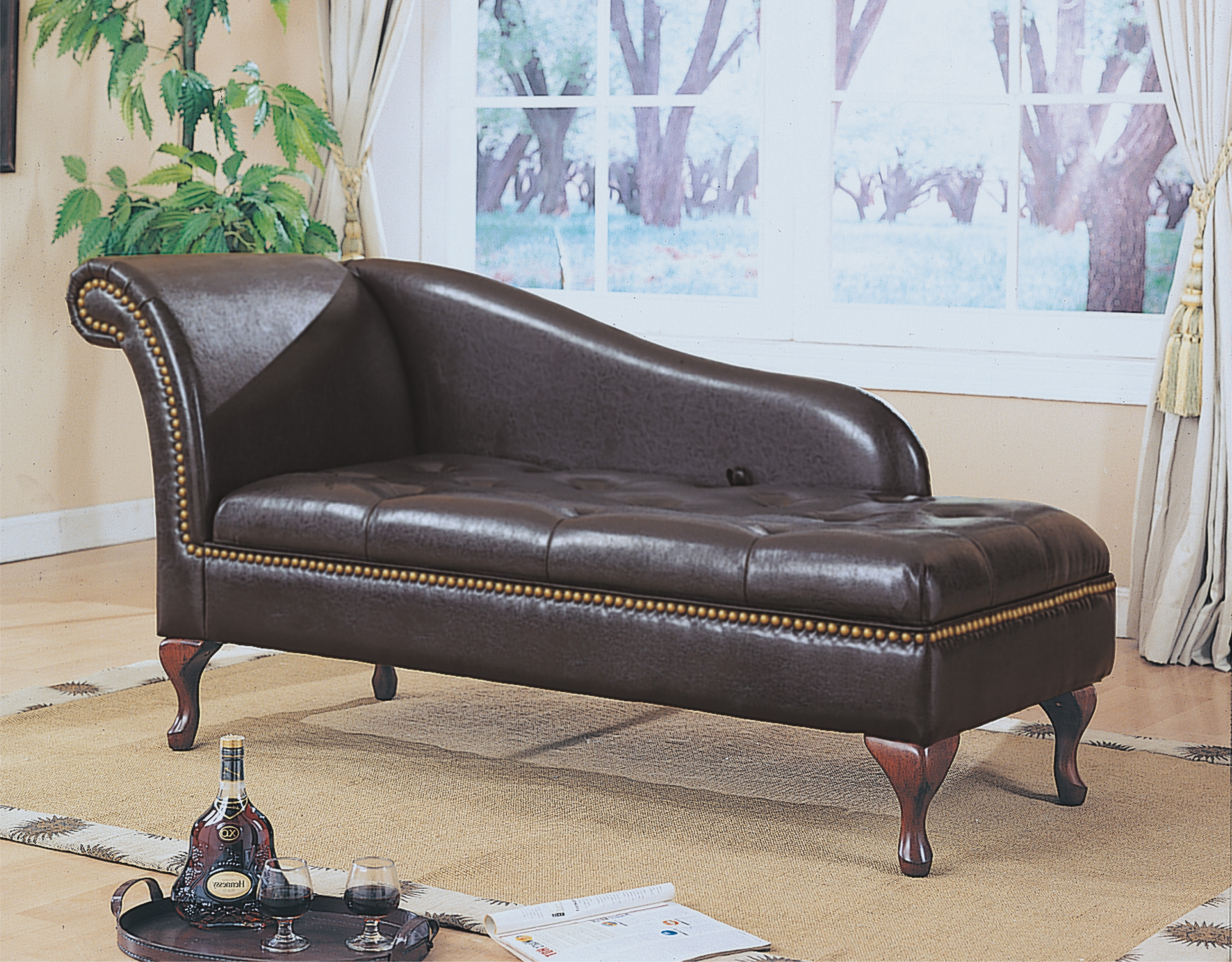 Popular Dark Brown Leather Sofa Chaise Lounge With Curving Headboard And In Chaise Lounge Chairs For Small Spaces (View 11 of 15)