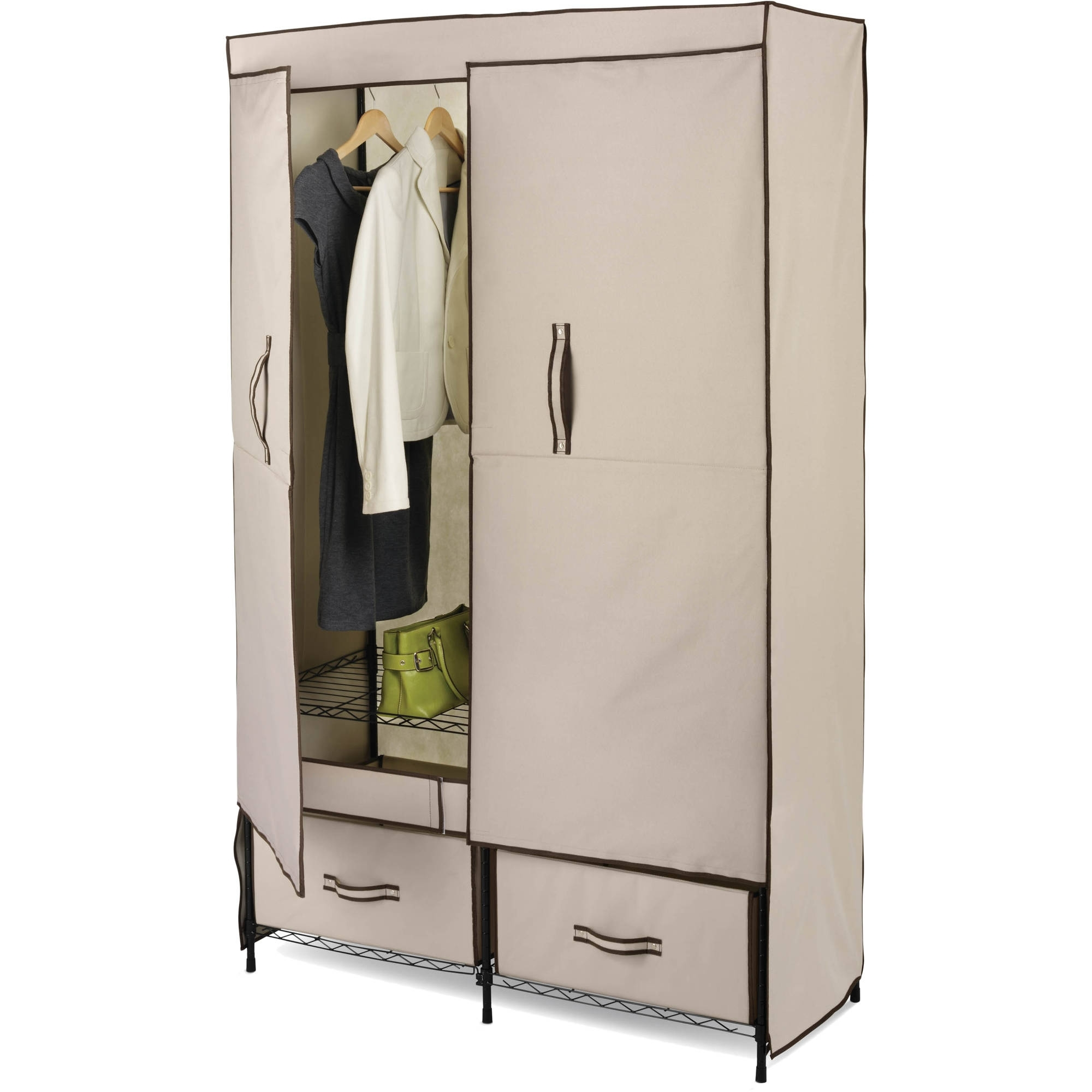 Popular Honey Can Do Double Door Closet Storage With Two Drawers, Beige In Cheap Double Wardrobes (View 10 of 15)