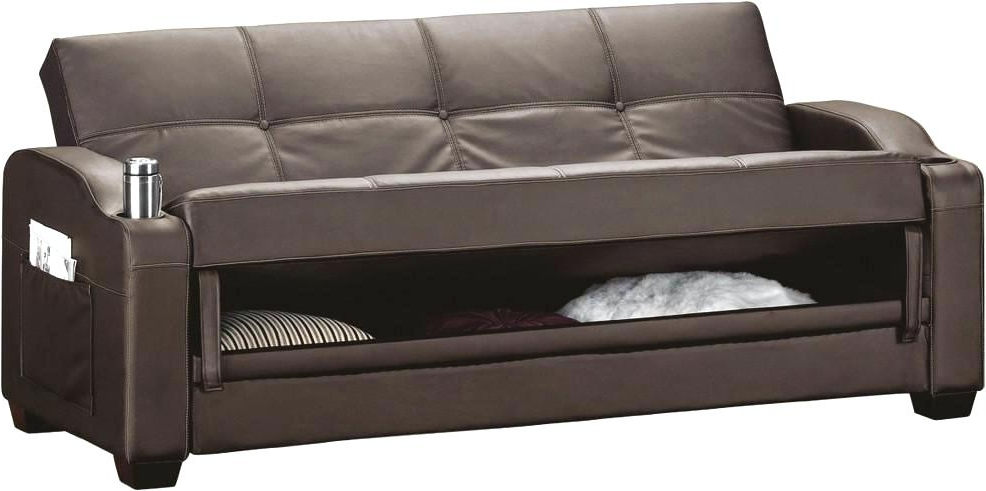 Popular Leather Sofas With Storage Inside Magnificent Small Faux Leather Sofa Bed Design – Gradfly (View 7 of 10)