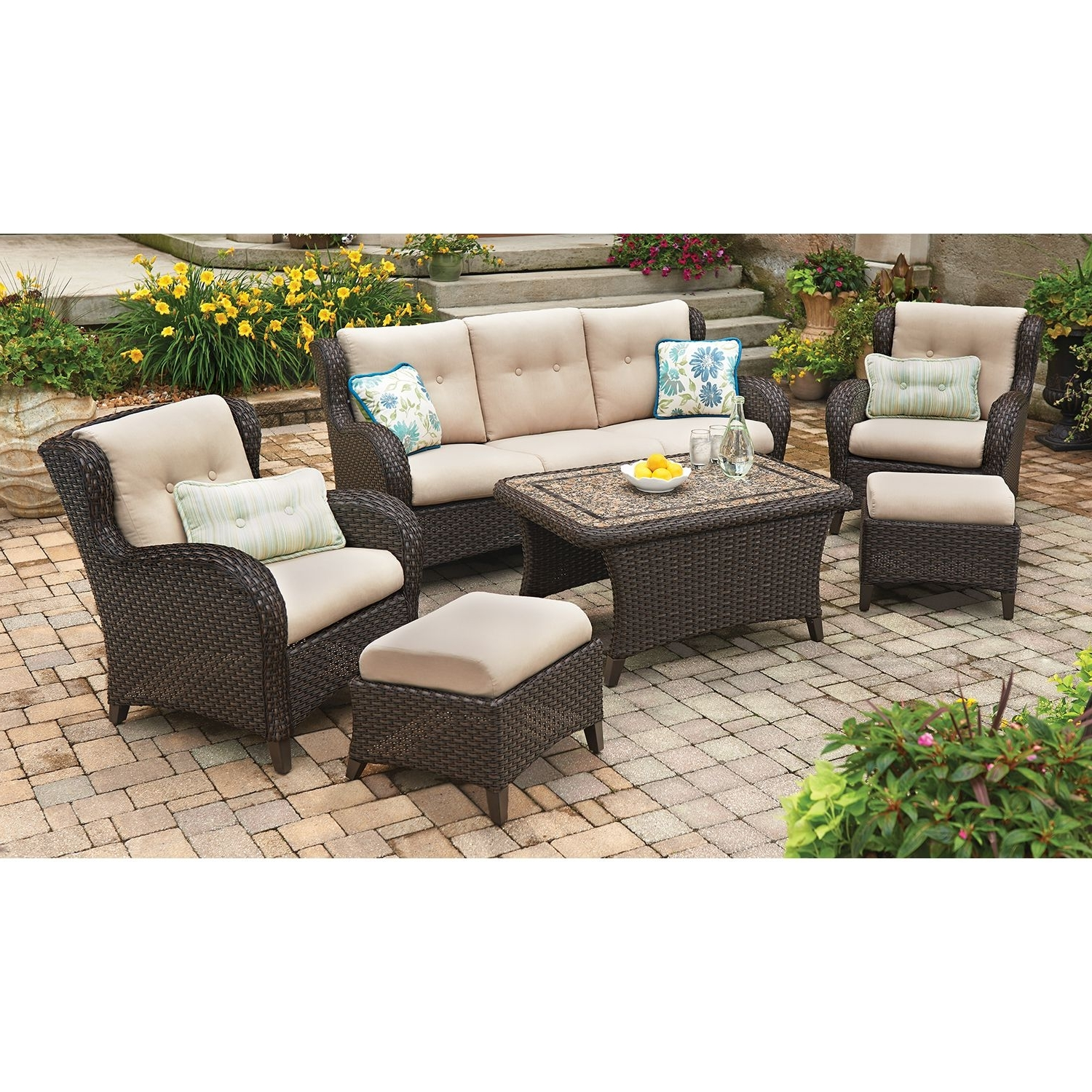 Popular Member's Mark Heritage 6 Piece Deep Seating Set With Premium In Sam's Club Outdoor Chaise Lounge Chairs (View 10 of 15)