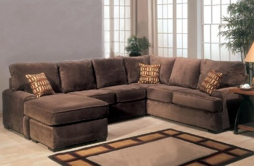 Popular Microfiber Sectional Sofa With Chaise Living Room For Chocolate  Brown Sectional Sofas (Gallery 6