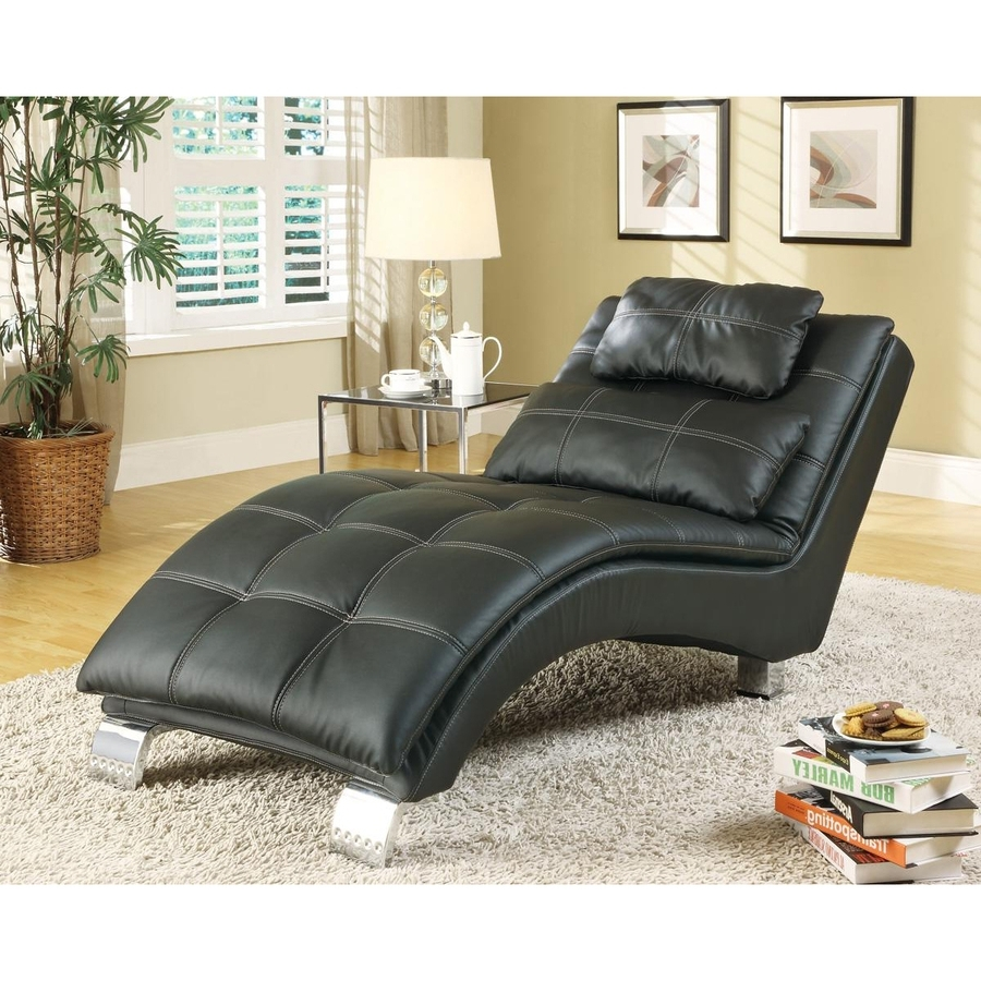 Popular Shop Coaster Fine Furniture Modern Black Vinyl Chaise Lounges At With Regard To Coaster Chaise Lounges (View 10 of 15)