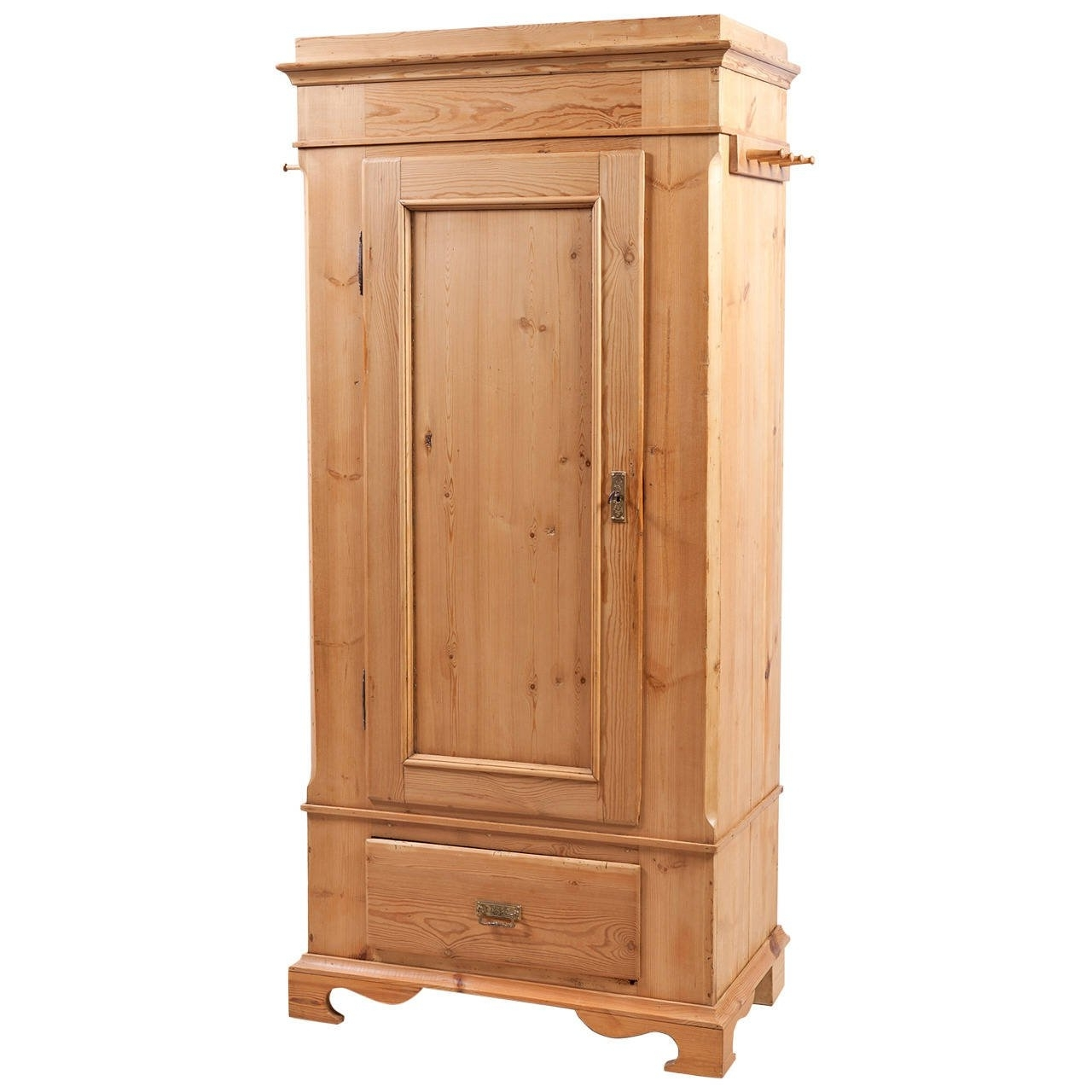 Popular Single Door Danish Wardrobe Armoire In Pine, Circa 1845 At 1stdibs With Regard To Pine Wardrobes With Drawers (View 14 of 15)