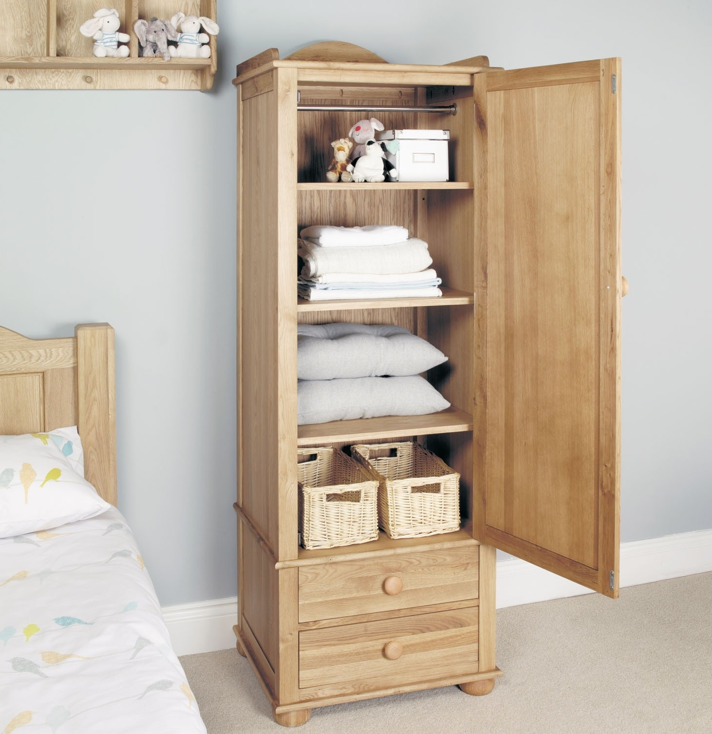 Popular Small Single Wardrobes For Amelie Oak Childrens Single Wardrobe – Children's Bedroom (View 9 of 15)