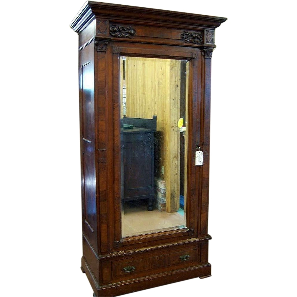 Popular Walnut Eastlake Victorian Wardrobe, Single Beveled Mirror Door With Single Wardrobes With Mirror (View 5 of 15)
