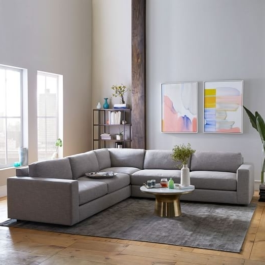 Popular West Elm Sectional Sofas Regarding Urban 3 Piece L Shaped Sectional – Heathered Tweed (View 4 of 10)