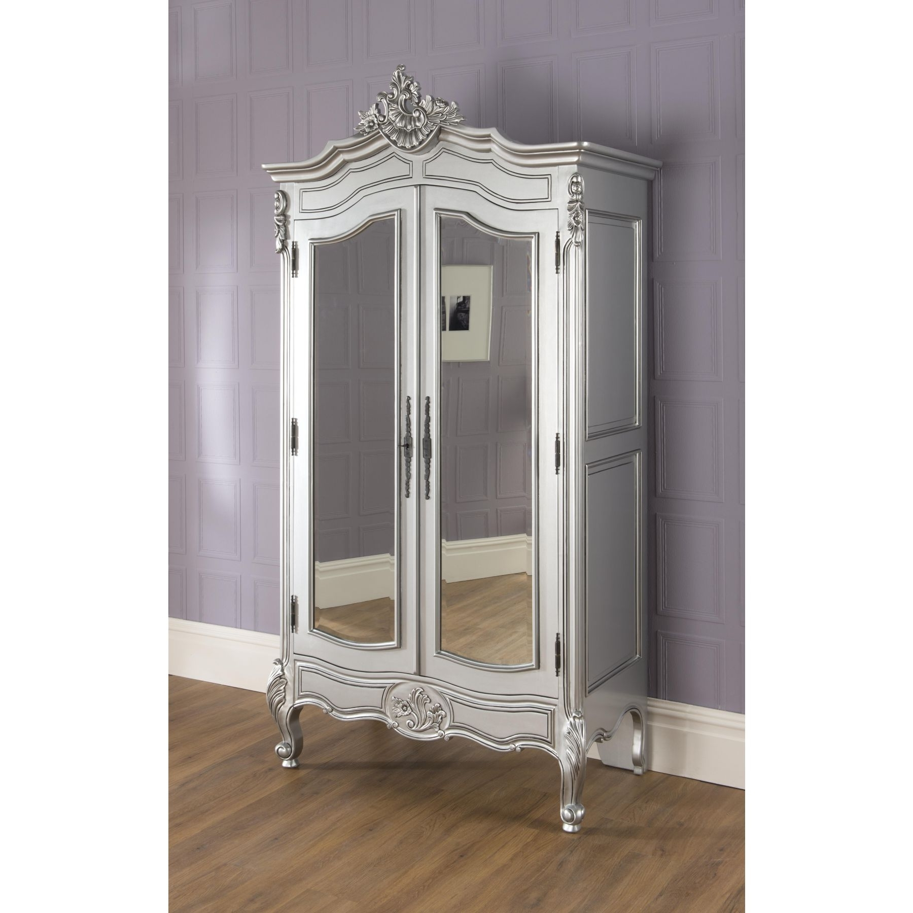 Popular White French Armoire Wardrobes In Bedroom: Antique Interior Storage Design With Wardrobe Armoire (View 10 of 15)