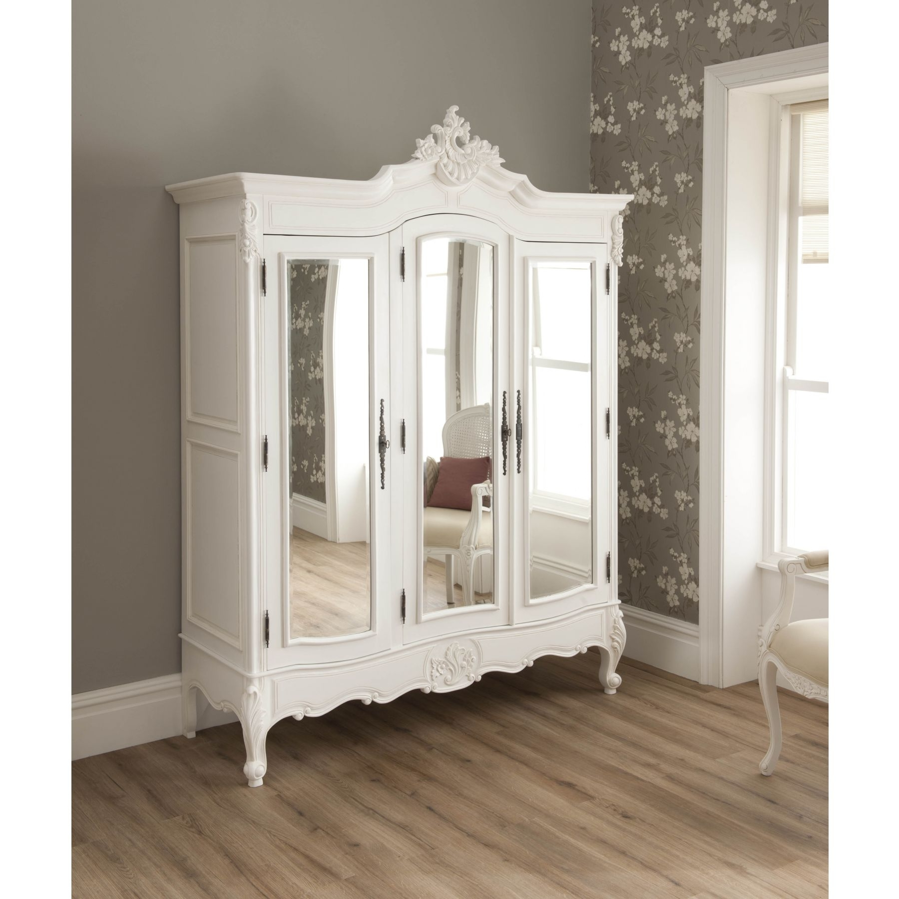 Popular White French Style Wardrobes Intended For La Rochelle Shabby Chic Antique Style Wardrobe (View 5 of 15)