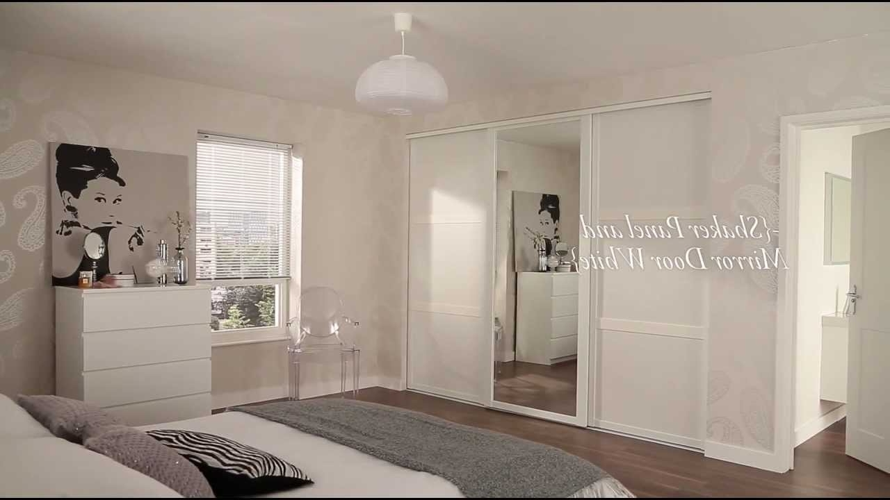 Popular White Shaker Panel & Mirrored Sliding Wardrobe Doors – Youtube For One Door Mirrored Wardrobes (View 12 of 15)