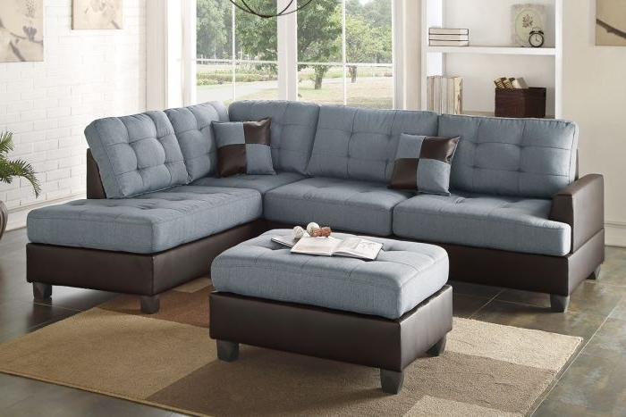 Poundex F6858 Grey Polyfiber Two Tone Sectional Ottoman Sofa Set Inside Well Known Two Tone Sofas (View 9 of 10)