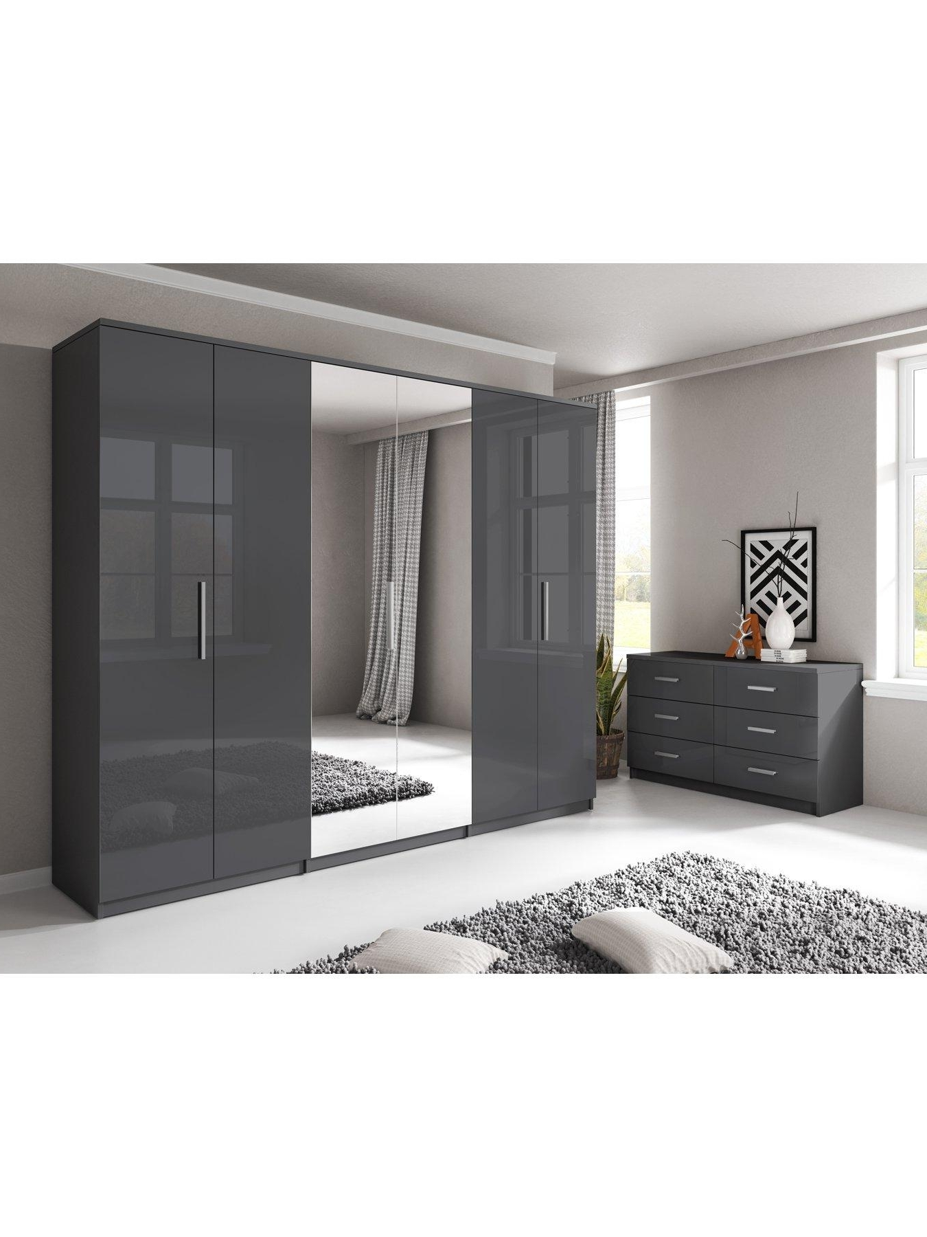Prague Gloss 6 Door Mirrored Wardrobe (View 11 of 15)