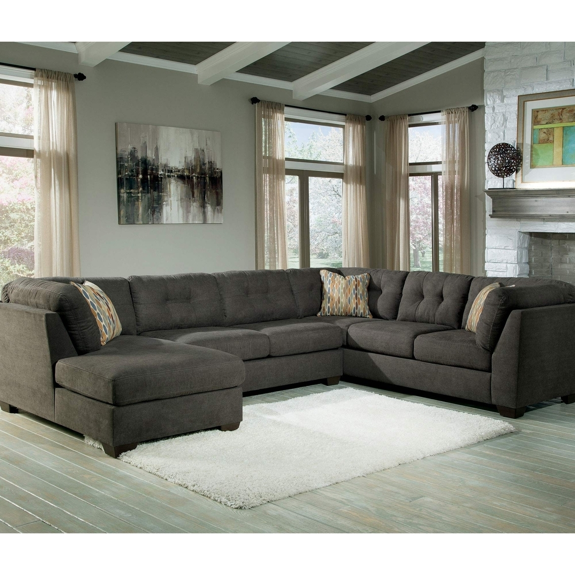 Preferred 3 Piece Sectional Sofas With Chaise With Benchcraft Delta City 3 Pc (View 9 of 15)