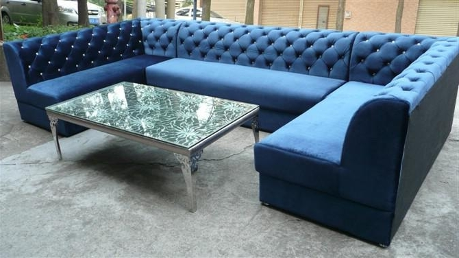 Featured Photo of Blue U Shaped Sectionals