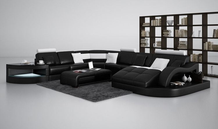 Preferred Casa 6140 Modern Black And White Leather Sectional Sofa Pertaining To Leather Sectional Sofas (View 9 of 10)