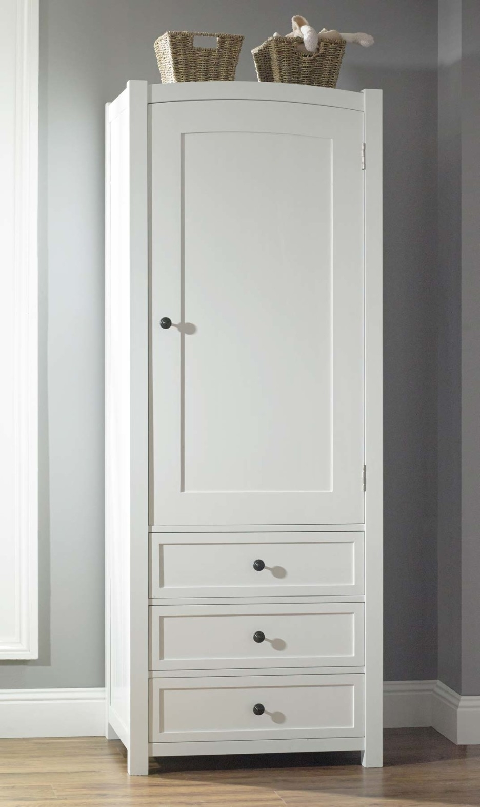 Preferred Cheap Wardrobes With Drawers Within Minimalist White Painted Wooden Wardrobe Cupboard With Half Wooden (View 13 of 15)
