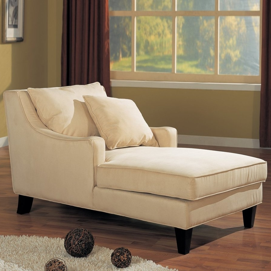 Preferred Coaster Chaise Lounges Pertaining To Shop Coaster Fine Furniture Beige/cappuccino Microfiber Chaise (View 4 of 15)