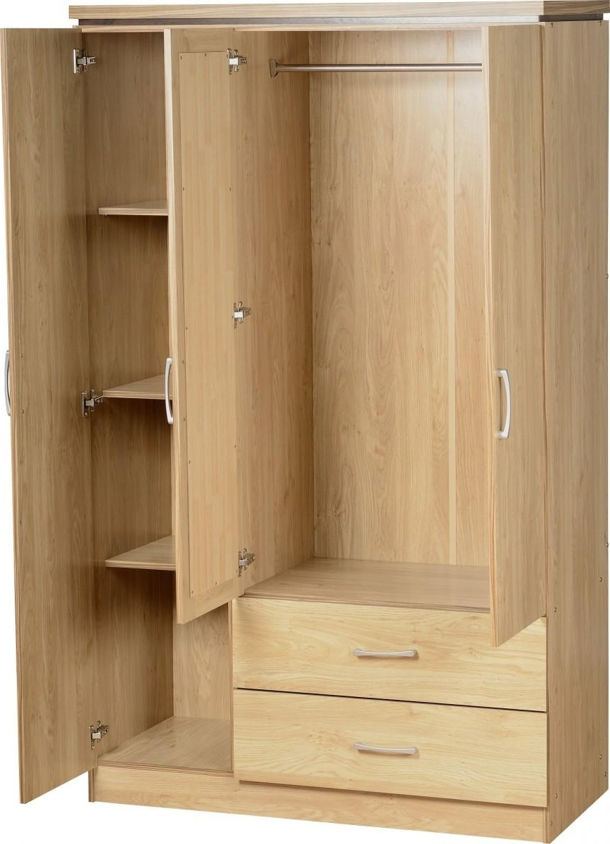 Preferred Combi Wardrobes Intended For Charles Oak Veneer With Walnut Trim 3 Door And 2 Drawer Combi (View 10 of 15)