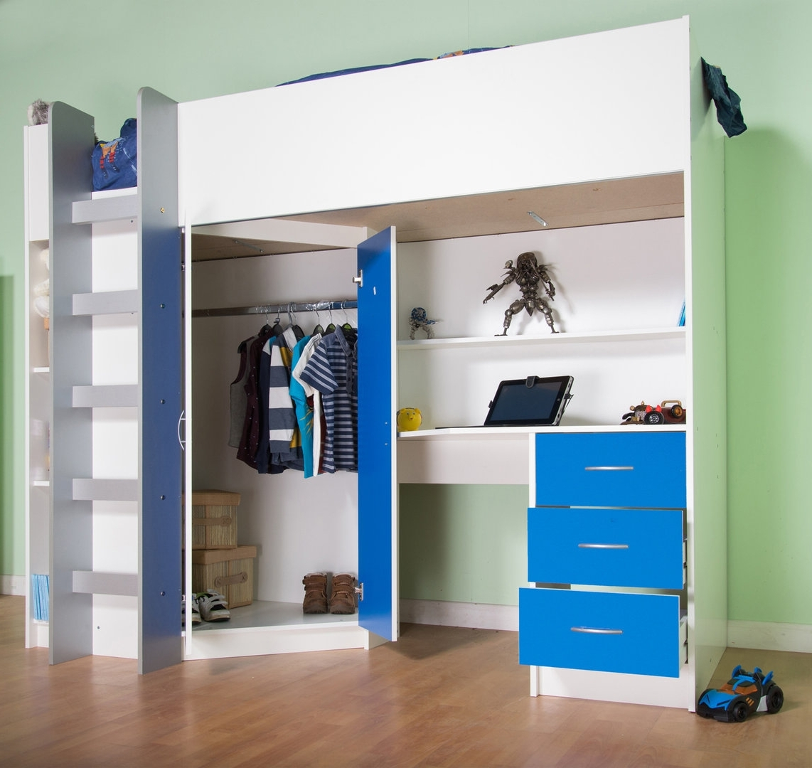 Preferred High Sleeper Bed With Wardrobes For Candy Childrens High Sleeper Bed White/blue (View 12 of 15)