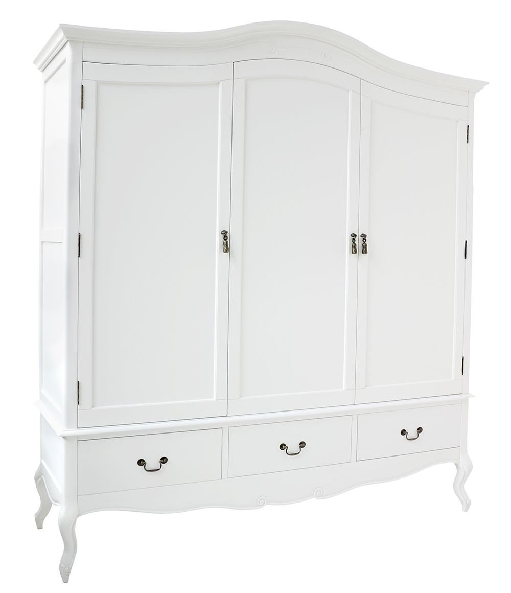 Preferred Juliette Shabby Chic White Triple Wardrobe With Hanging Rails Pertaining To 3 Door French Wardrobes (View 12 of 15)