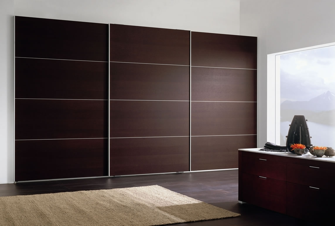 Preferred Large Black Wardrobes Throughout Luxury Bedroom With Brown Modern Wardrobe Designs, Wooden Sliding (View 11 of 15)
