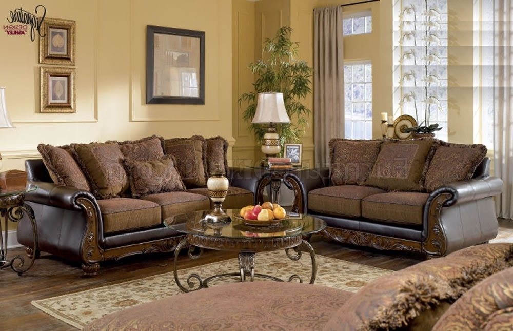 Preferred Leather And Cloth Sofas Pertaining To Walnut Fabric And Faux Leather Sofa Loveseat Setashley In (View 8 of 10)
