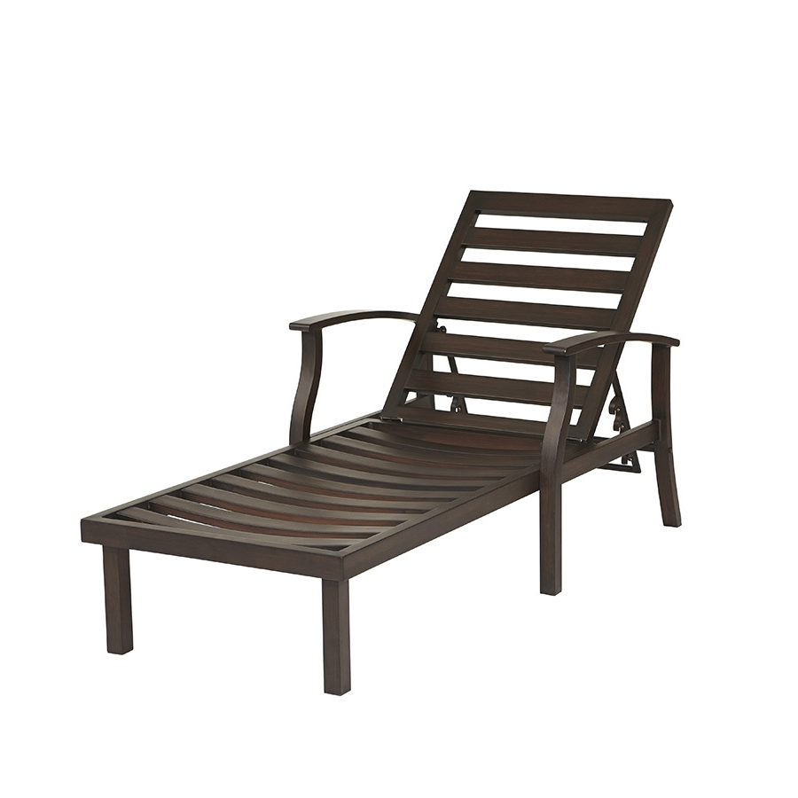 Preferred Lowes Outdoor Chaise Lounges In Shop Allen + Roth Gatewood Brown Aluminum Patio Chaise Lounge (View 9 of 15)