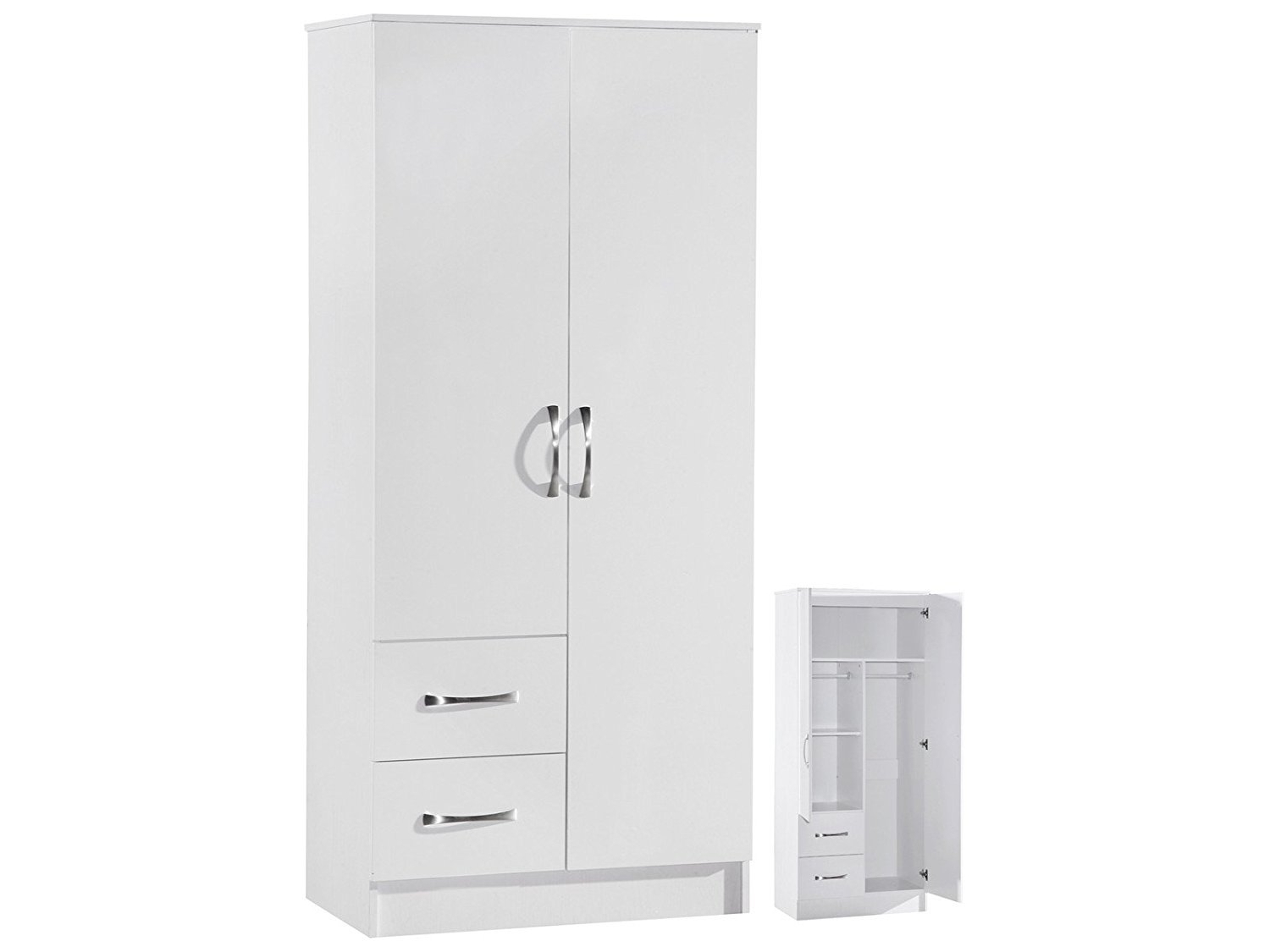 Preferred Marina 2 Door Double Combination Wardrobe Ultra High Gloss Quality Regarding Two Door White Wardrobes (View 3 of 15)