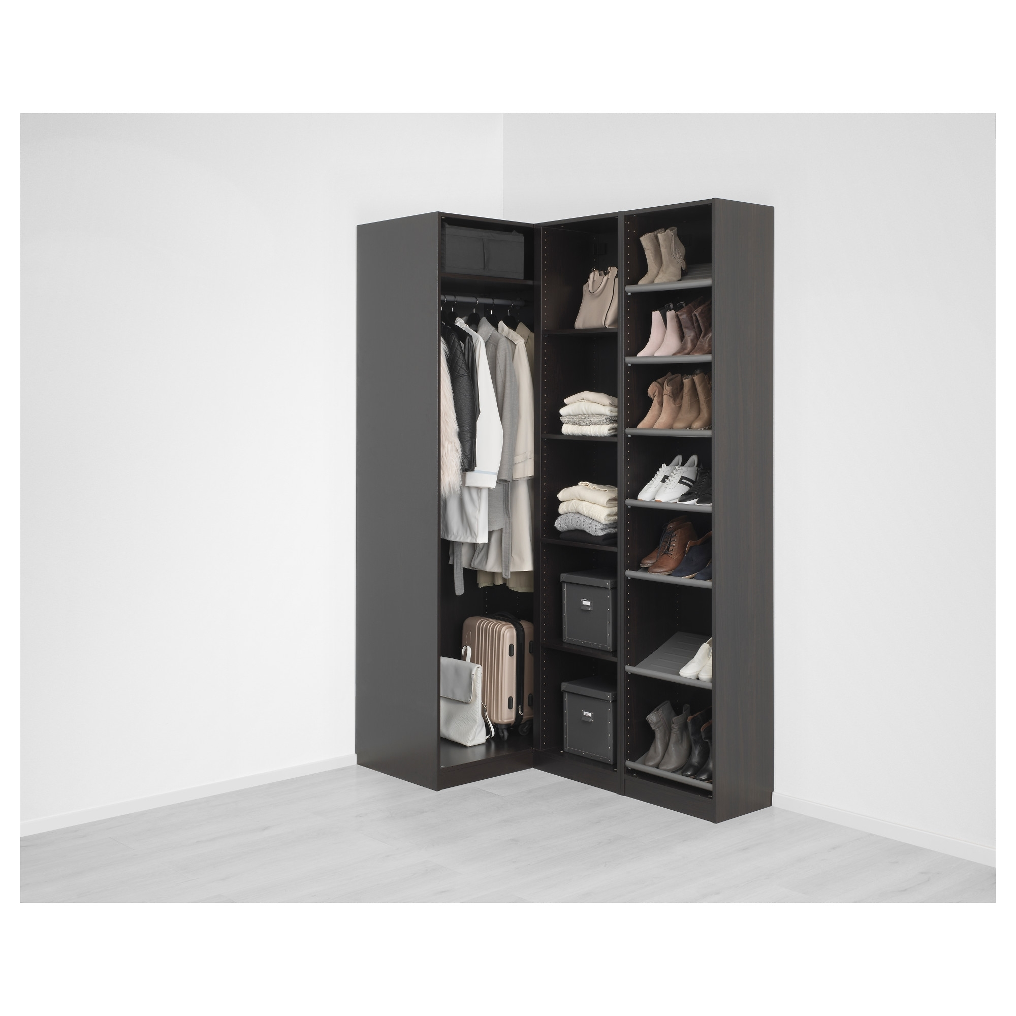 Preferred Pax Corner Wardrobe Black Brown/nexus Vikedal 160/88X236 Cm – Ikea With Regard To White Corner Wardrobes Units (View 11 of 15)
