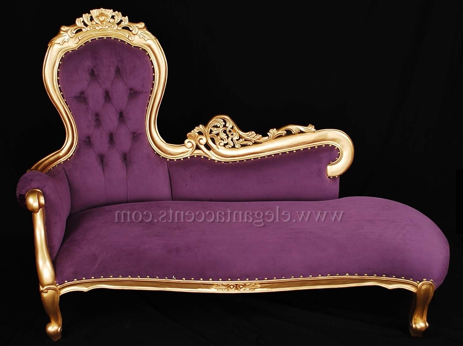 Preferred Purple Chaises Throughout French Rose Sofa Chaise Lounge – Gold Finish With Purple Fabric (View 6 of 15)