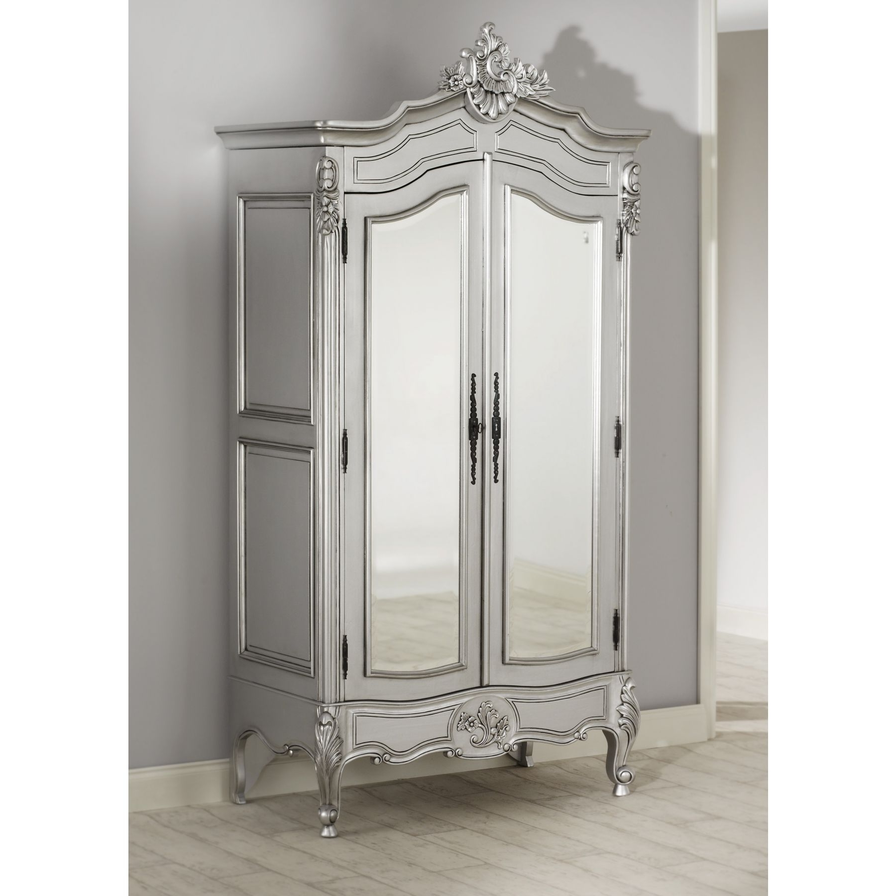 Preferred Rochelle Lille Antique French Silver Bed (Size: Double) + La Inside Silver Wardrobes (View 6 of 15)