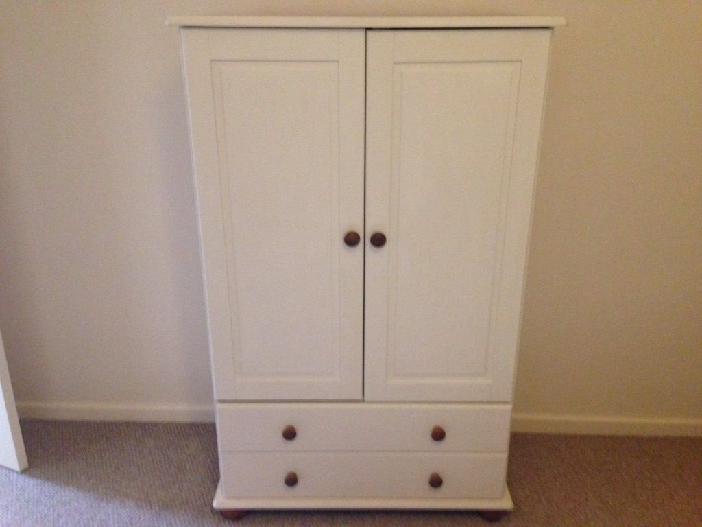 Preferred Small Tallboy Wardrobes Pertaining To Small Solid Pine Wardrobe Tall Boy With Drawers Cream Painted (View 11 of 15)