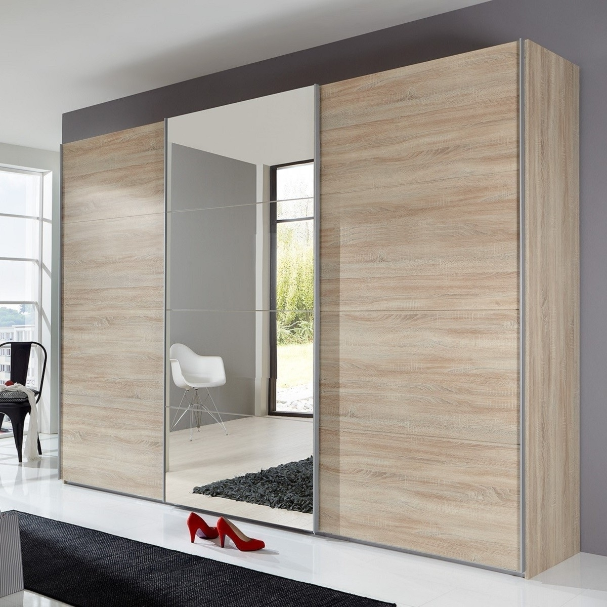 Preferred Three Door Mirrored Wardrobes Within Sliding Wardrobe Doors Oak Mirror • Sliding Doors Design (View 7 of 15)