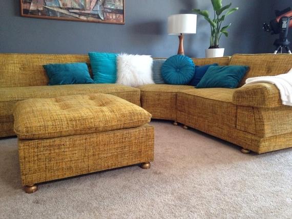 Preferred Tweed Fabric Sofas Regarding Free Shipping Mid Century Mod Vintage Yellow Tweed Boucle Wool (View 9 of 10)