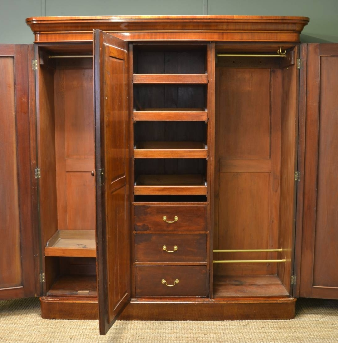 Preferred Victorian Antique Mahogany Triple Wardrobe – Antiques World Regarding Antique Triple Wardrobes (View 15 of 15)