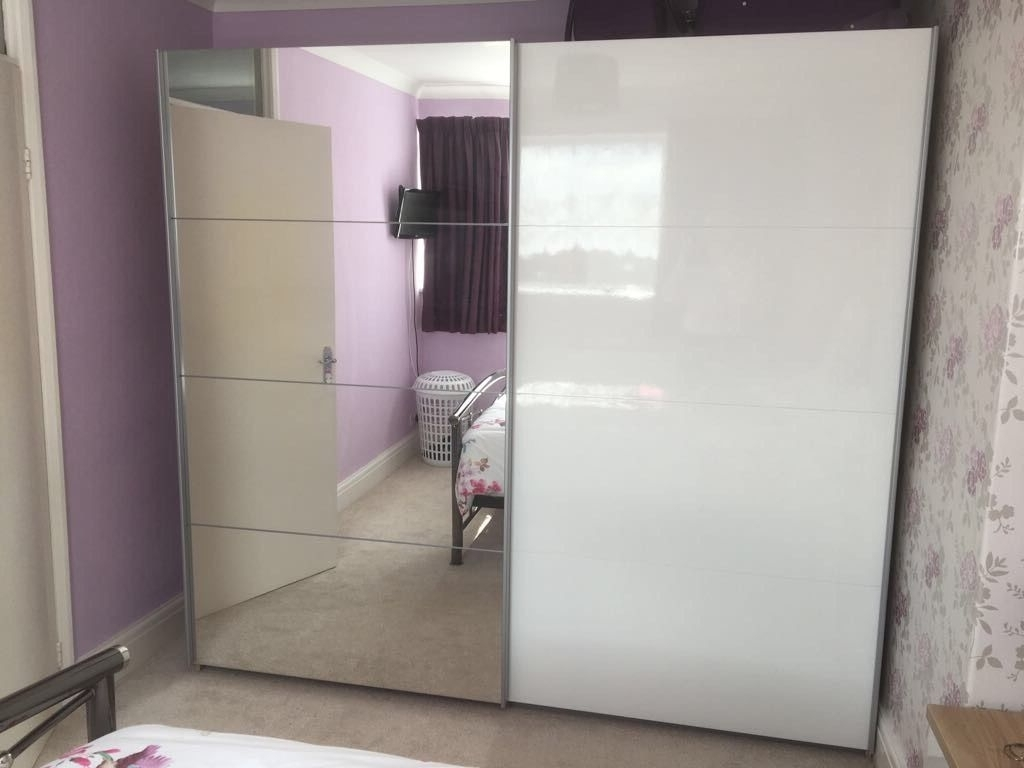 Preferred White Gloss/mirrored Wardrobe With Matching Bedside Tables (View 9 of 15)