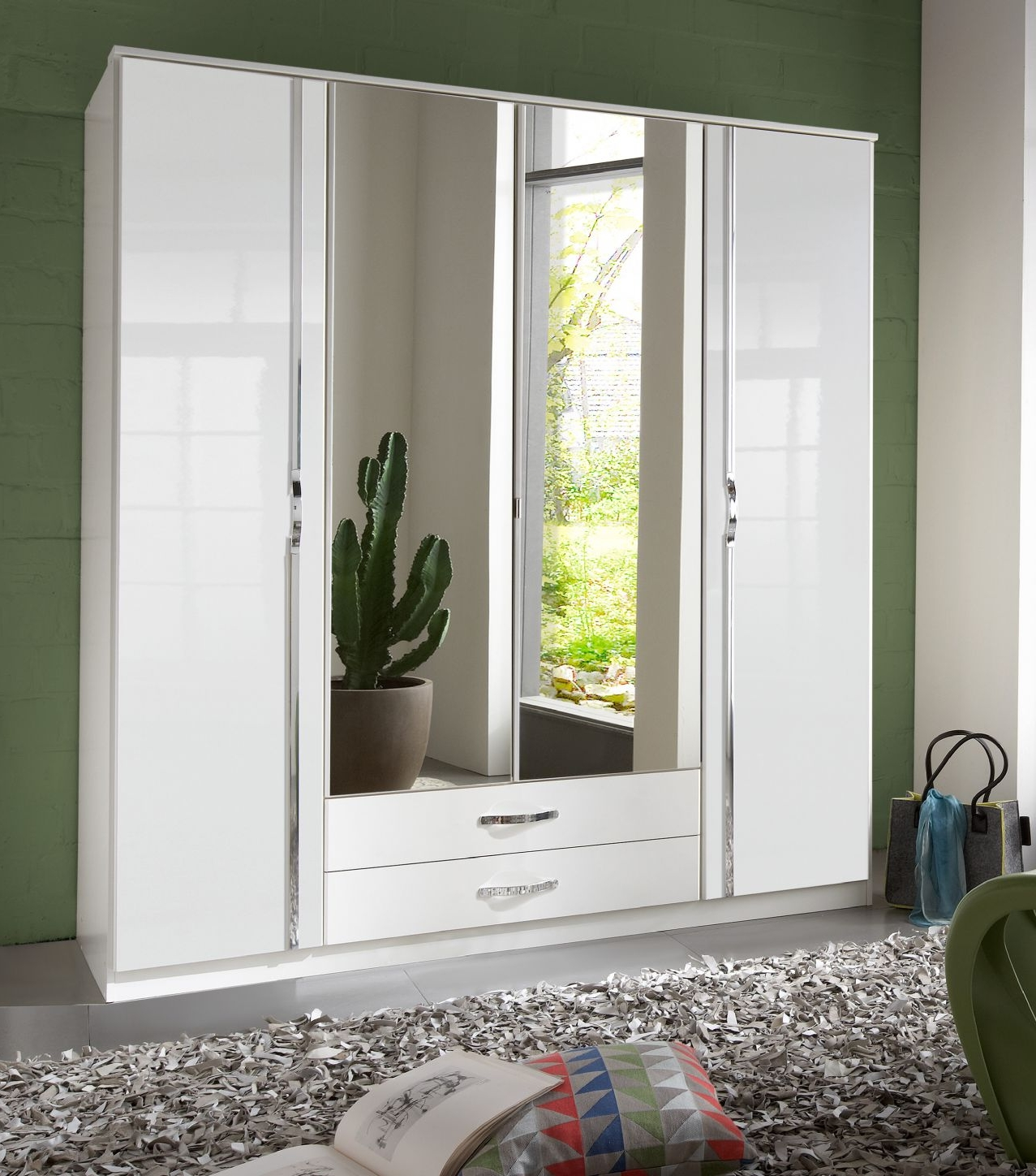 Preferred White Gloss Wardrobes Throughout Arosa 4 Door White Gloss Wardrobe – German Wardrobes (View 11 of 15)