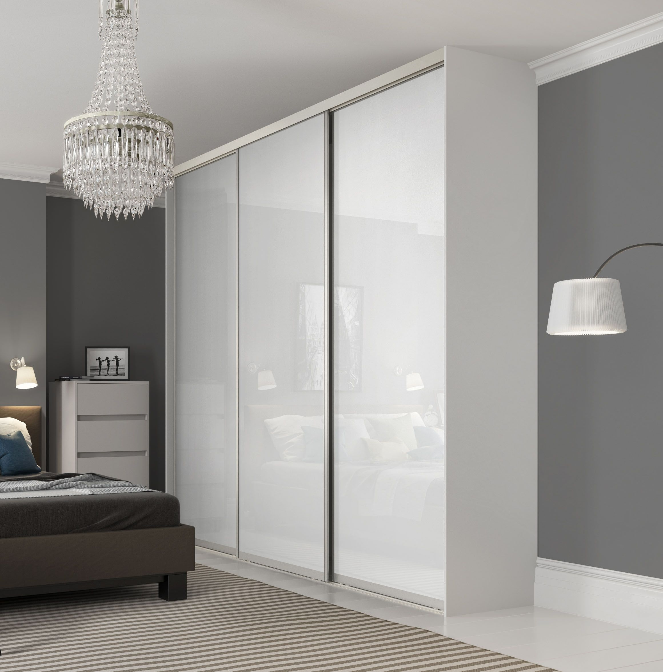 Premium Midi Single Panel Sliding Wardrobe Doors In Pure White In Recent Silver Wardrobes (View 7 of 15)