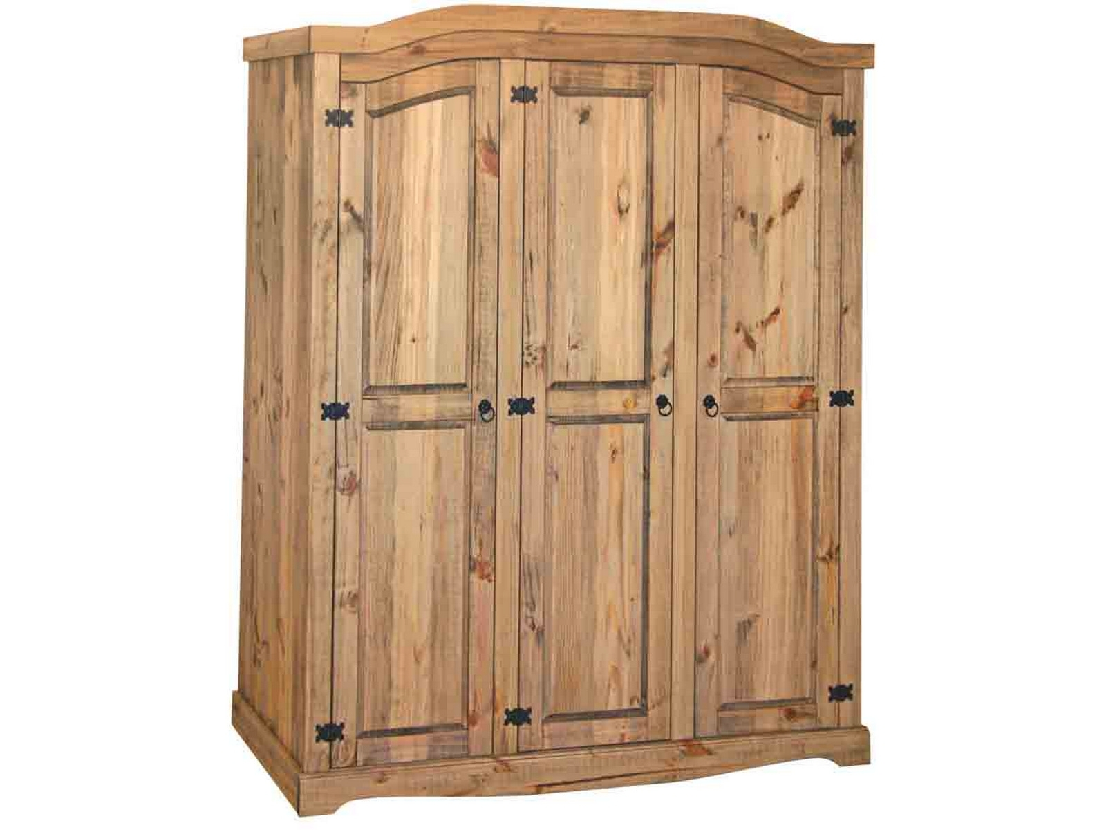 Premium Quality Corona Waxed Solid Mexican Pine 3 Door Triple Intended For Most Popular Corona Wardrobes With 3 Doors (View 13 of 15)
