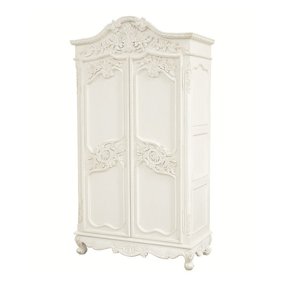 Provencal Carved White French Armoire (View 8 of 15)