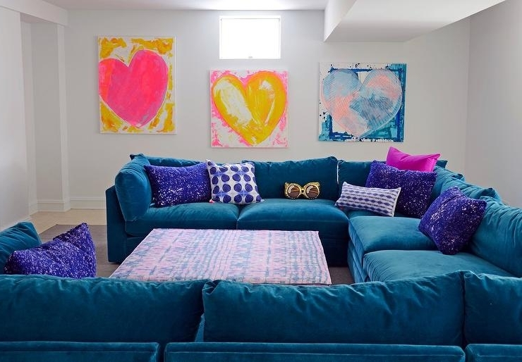 Purple Velvet Sectional Design Ideas For Most Up To Date Blue U Shaped Sectionals (View 7 of 10)