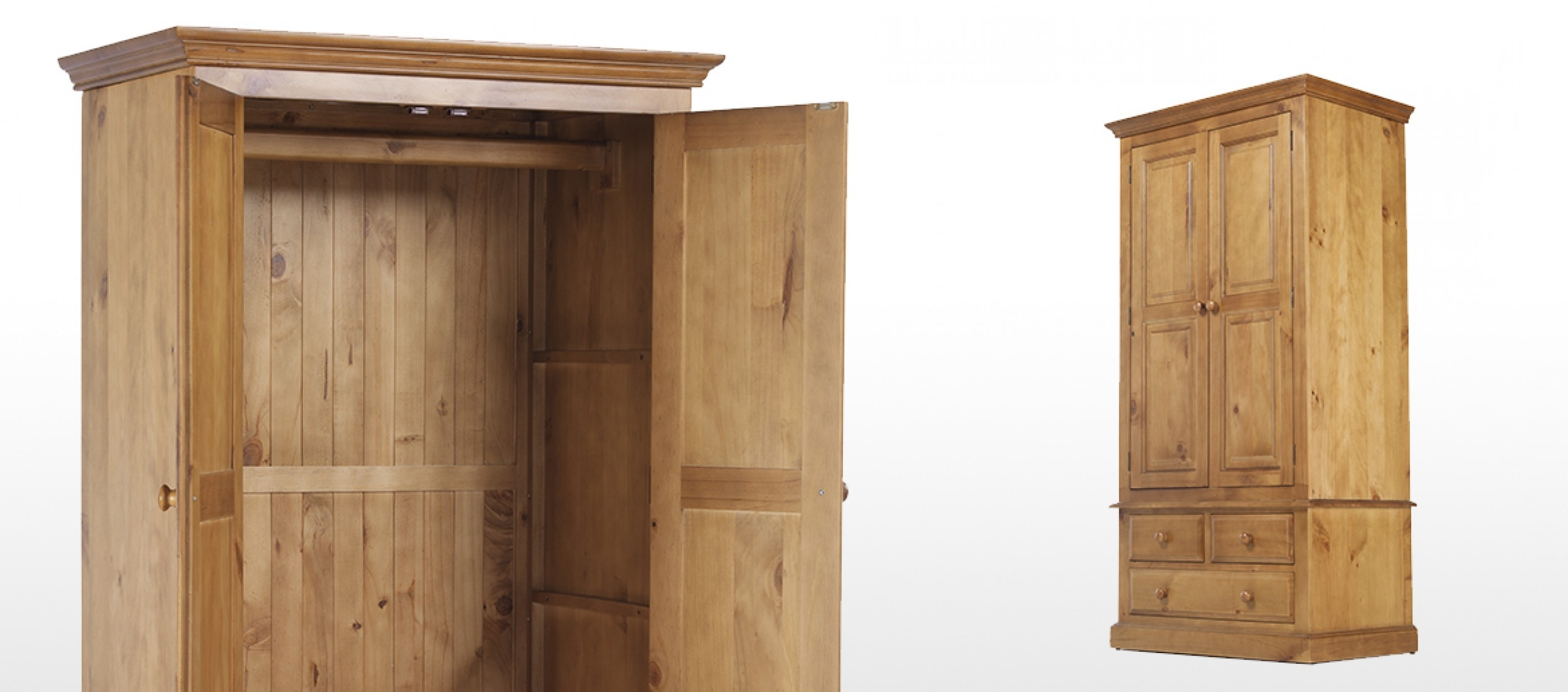 Quercus Living Inside Double Pine Wardrobes (View 12 of 15)