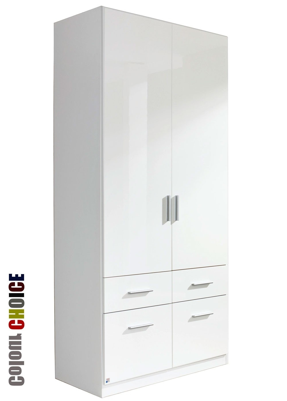 Rauch High Gloss Cello 2 Door 4 Drawer Wardrobe Intended For 2018 White 2 Door Wardrobes With Drawers (View 8 of 15)