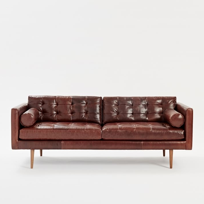 """Recent Aniline Leather Sofas In Monroe Mid Century Leather Sofa (80"""") (View 14 of 15)"""