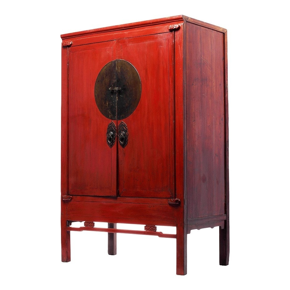 Recent Antique Chinese Red Lacquer Wedding Cabinet At 1Stdibs With Chinese Wardrobes (View 10 of 15)